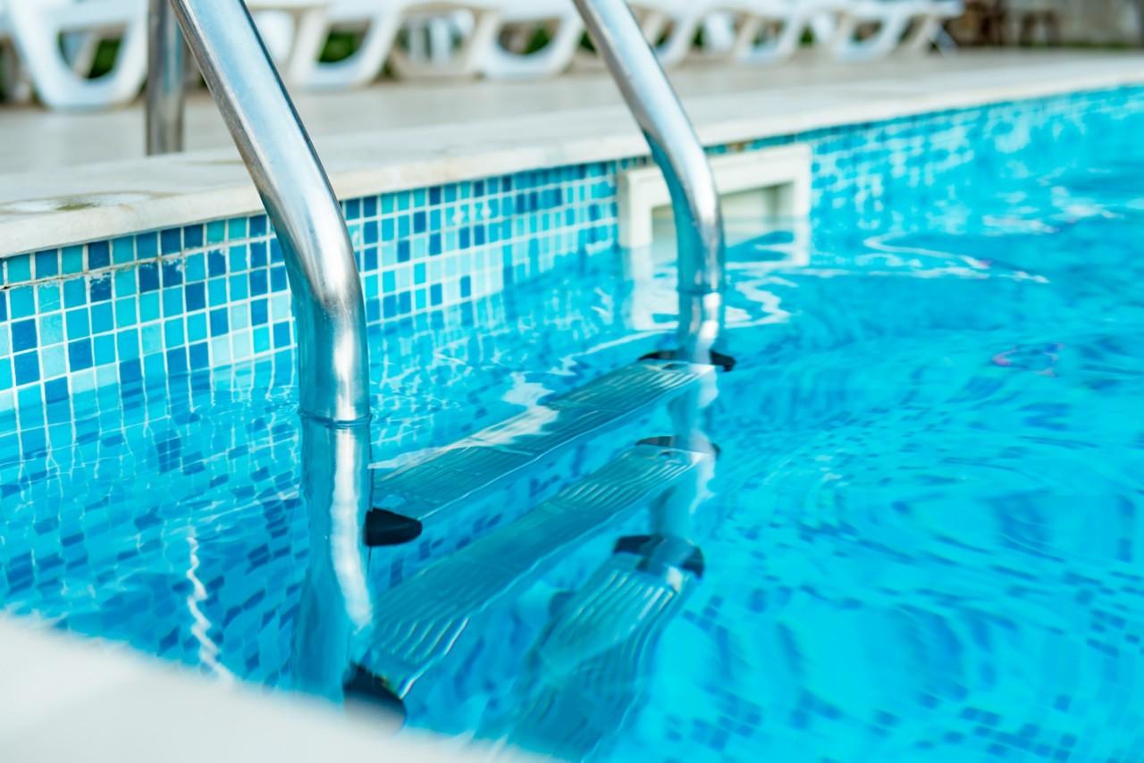 closeup of pool ladder
