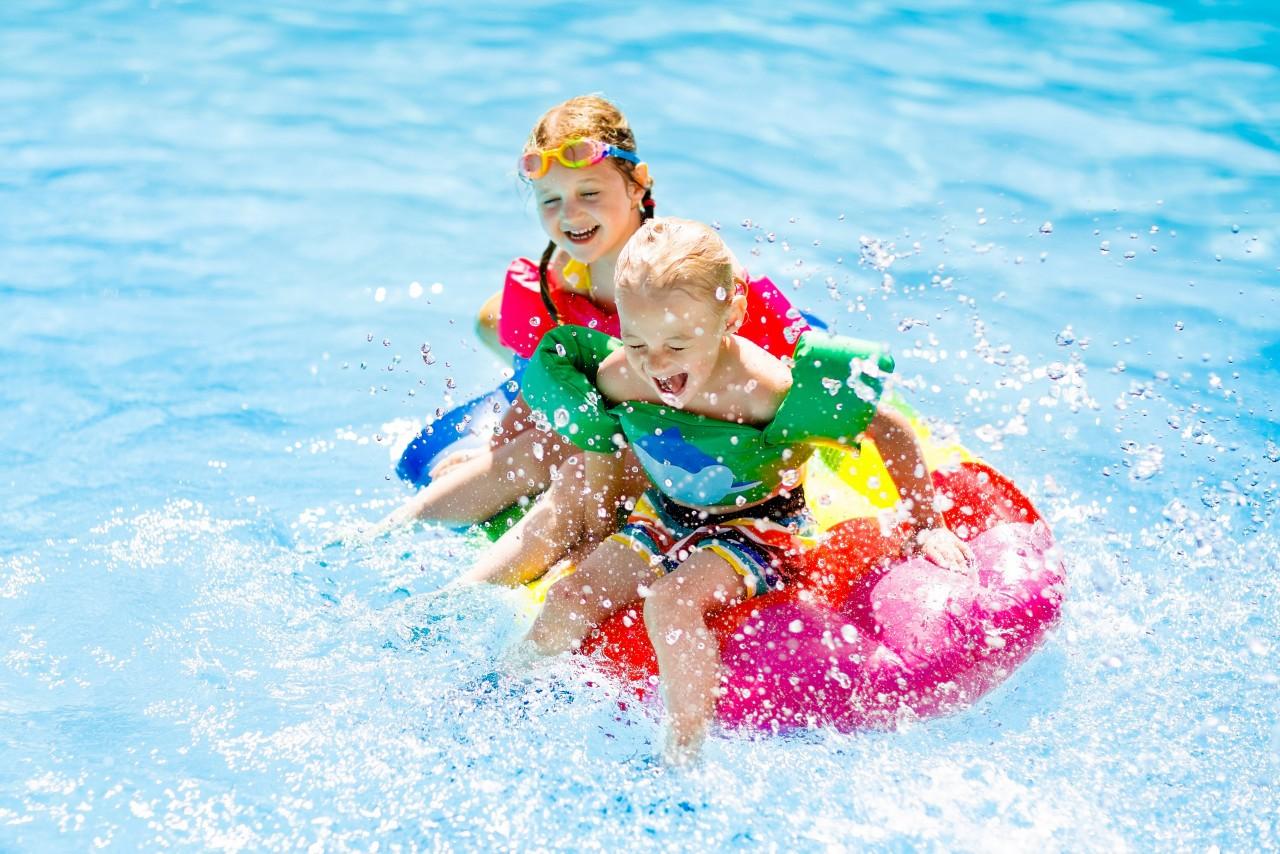 children in pool