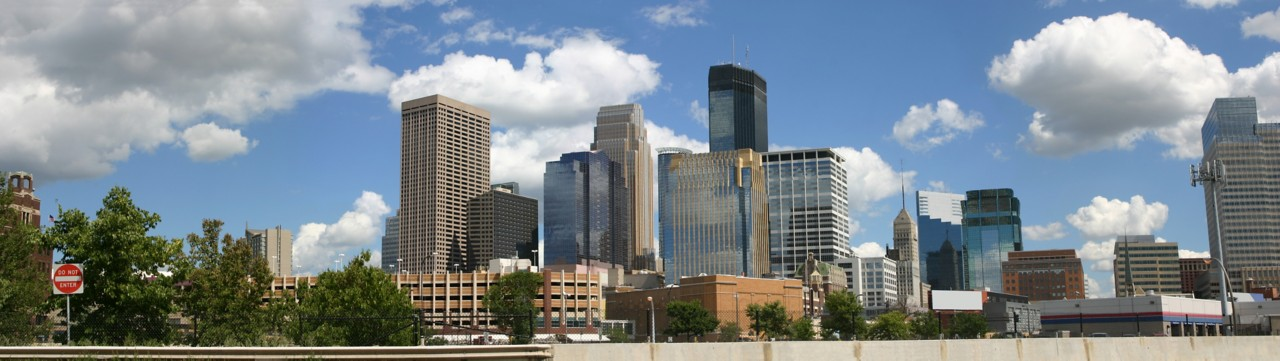 Panorama of downtown Minneapolis viewed from the northwest