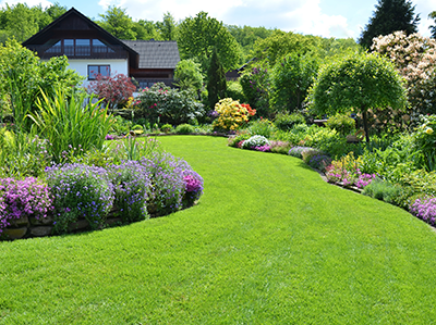 Manicured lawn and gardens