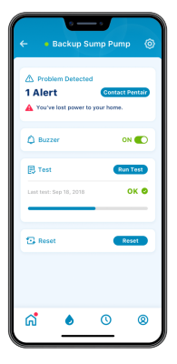 pentair home app backup sump pump problem detected systems checked benefit