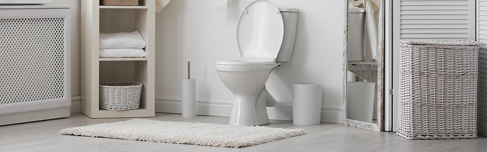 Clean bathroom with toilet