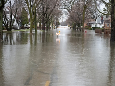 Flooded street with dirty water