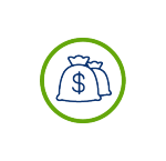 energy cost savings icon with blue circle, blue money bag