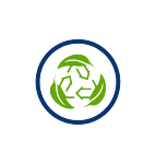 eco super-friendly, green leaves, recycle symbol, blue circle, transparent png