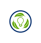 energy efficiency icon, green light bulb, green leaves, blue circle, transparent png