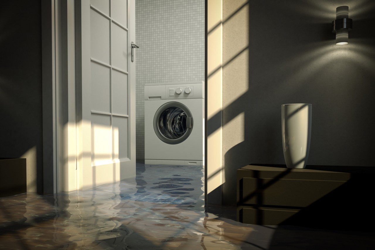 Water damage caused by defective washing machine. Cg-image.