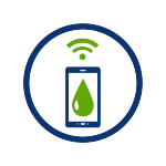 circular icon with phone icon, green raindrop, wifi signal