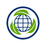 sustainability centric icon, blue globe with three green leaves