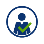 blue circular icon with blue person and green checkmark