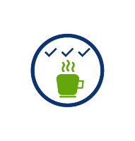 consistent high quality coffee, green coffee cup, blue check marks, blue circle, transparent png