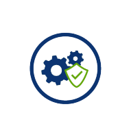 blue cogs with green shield and checkmark, blue circle, transparent png