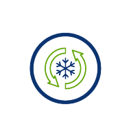 really efficient ice, green arrows, snowflake, blue circle, transparent png, icon
