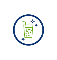 green glass of iced tea with blue stars to show perfection, blue circle, transparent png