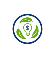 green light bulb with dollar sign, green leaves, blue circle, transparent png